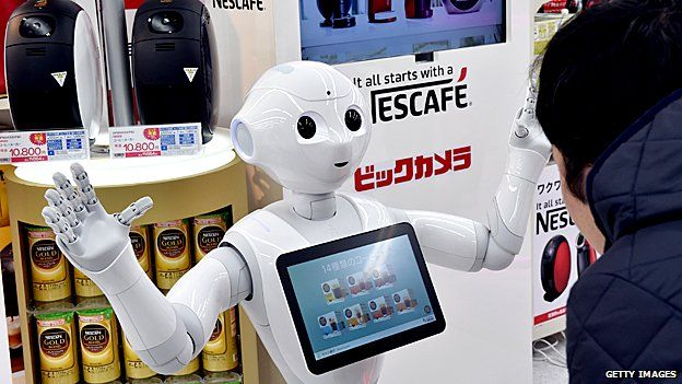 Pepper the robot selling coffee machines
