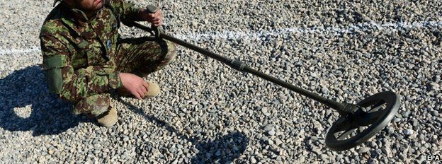 An Afghan soldier with a mine detector at Camp Shaheen, west of Mazar-e-Sharif, 13 December
