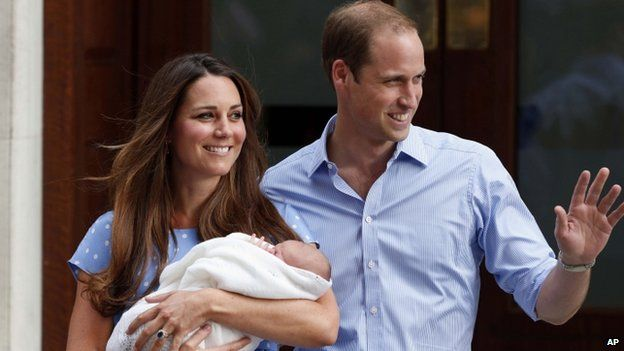 The Duke and Duchess of Cambridge with Prince George the day after he was born