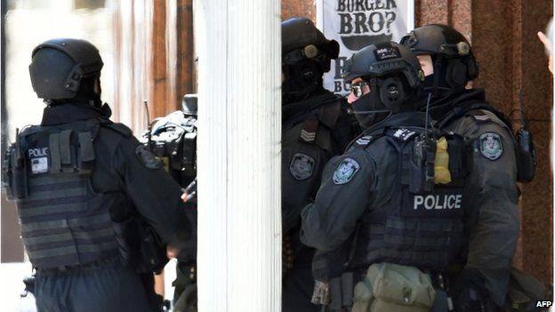 Armed police in Sydney