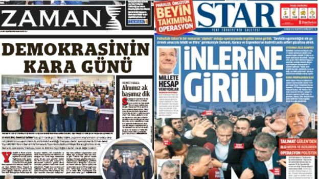 Turkish newspaper front pages