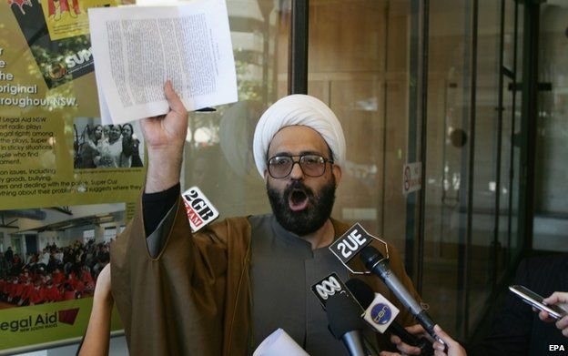 Man Haron Monis speaks to the media after leaving Downing Centre Local Court in Sydney on 10 November 2009