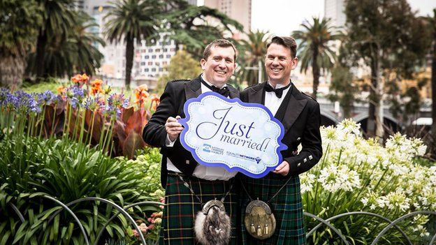 Douglas Pretsell, from Edinburgh, and Peter Gloster, from Melbourne, formalised their marriage in Sydney