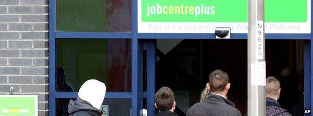 People in a Job Centre queue