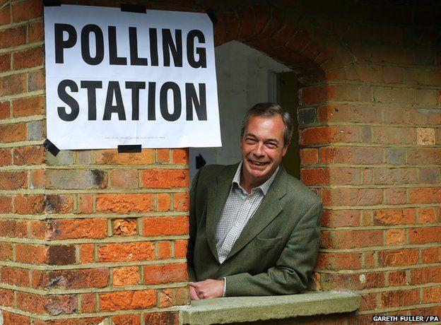 UKIP Leader Nigel Farage arrives at Cudham Church of England Primary School in Cudham, Kent