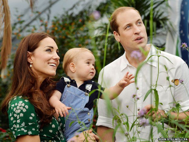 Duke and Duchess of Cambridge and Prince George during a visit to the Sensational Butterflies exhibition at the Natural History Museum, London