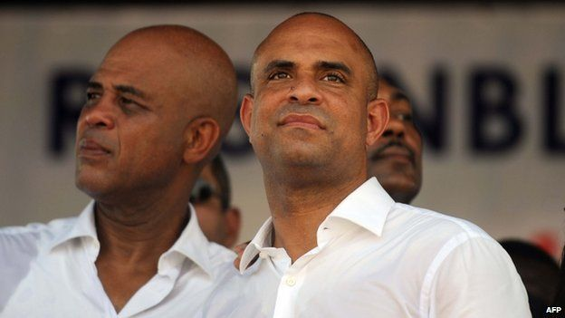Martelly (left) and Lamothe (right), 17 October 14