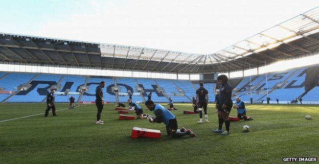 Wasps players training at the Ricoh Arena in Coventry