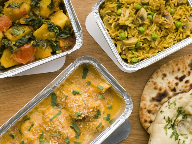 Indian takeaway in foil containers