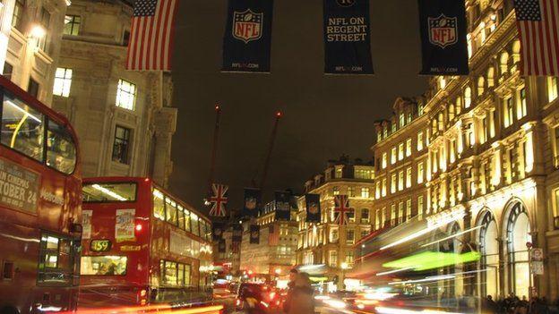 American flag in Regent Street