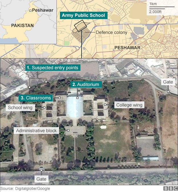 Peshawar army public school map showing Taliban attack
