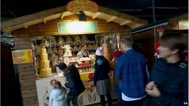 Festivities at the Southbank Centre christmas market on the South Bank in central London
