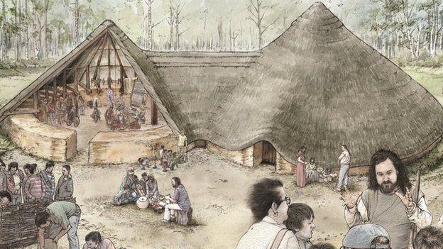 Dyma fel y byddai Bryn Eryr wedi edrych yn Oes yr Haearn // An artist's impression of how Bryn Eryr (Eagle Hill) would have looked in the Iron Age