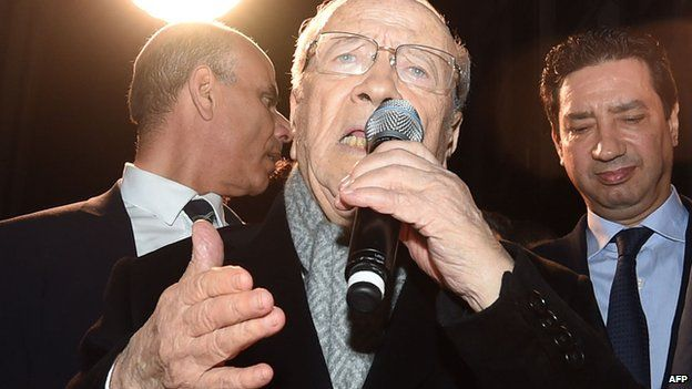Beji Caid Essebsi addresses supporters following Tunisia's presidential election
