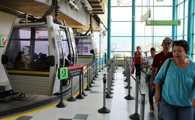 Cable car station in Medellin