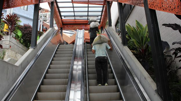 One of the escalators that make areas on Medellin's hilltops easier to reach