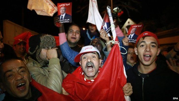 Supporters of the presidential candidate Beji Caid Essebsi, celebrate in Sousse, Tunisia - 21 December 2014