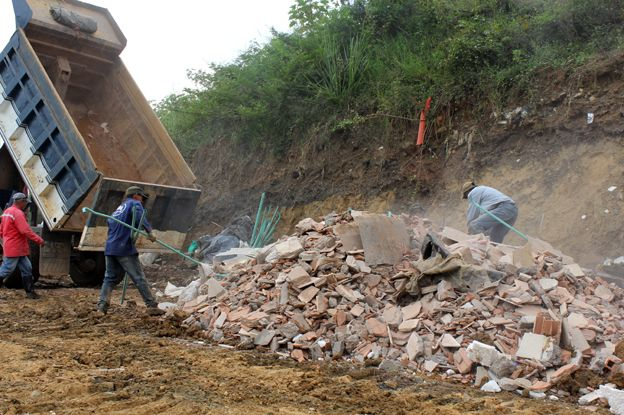 Construction waste is still deposited in parts of the dump