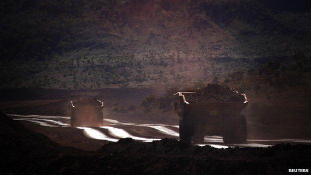 Trucks laden with iron ore, Western Australia