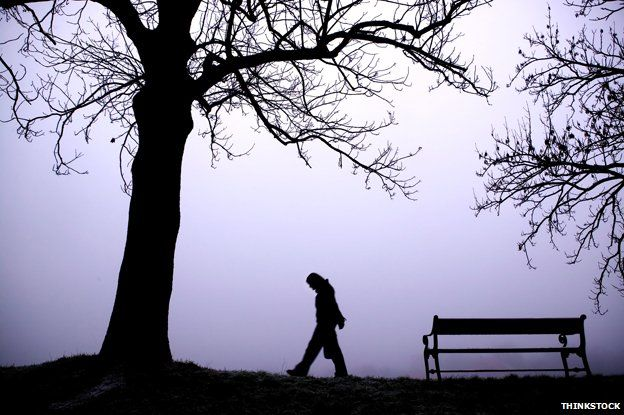 silhouette of person walking alone by trees