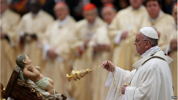 Pope Francis during midnight Mass at St Peter's, 24 December 2014