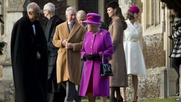 The Queen leaves church
