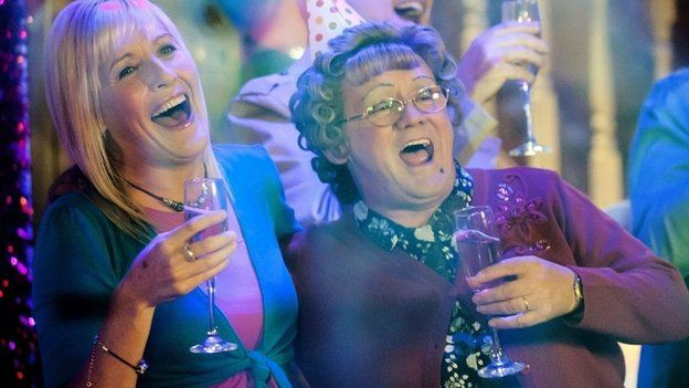 Still from Mrs Brown Boy's showing Cathy Brown (Jennifer Gibney) and Agnes Brown (Brendan O'Carroll)