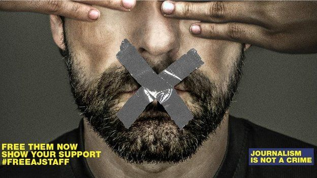Advert by al-Jazeera calling for the release of its journalists jailed in Egypt