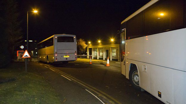 Coaches taking Libyan soldiers from Bassingbourn Barracks