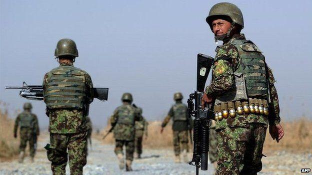 Afghan soldier on patrol in southern Afghanistan - 10 December 2014