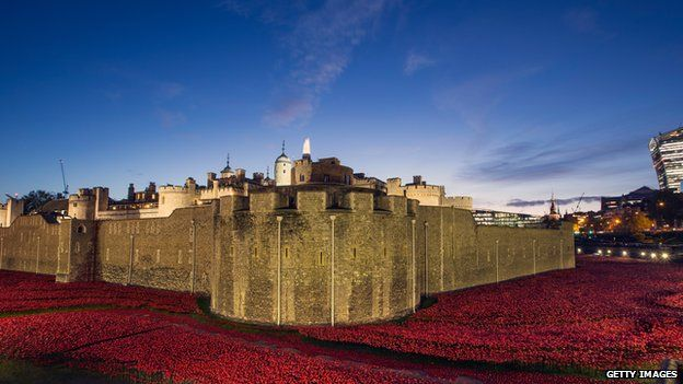 Poppy installation at Tower of London