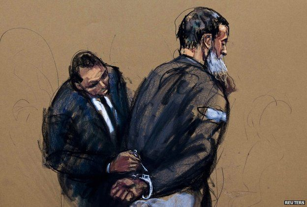 A courtroom sketch shows Anas al-Liby in Manhattan Federal Court in New York, in October 2013