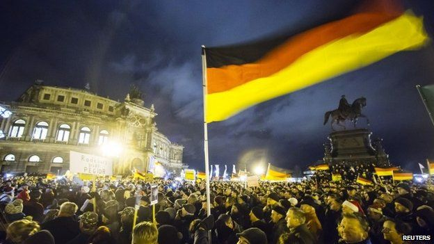 A Pegida rally in Dresden, Germany
