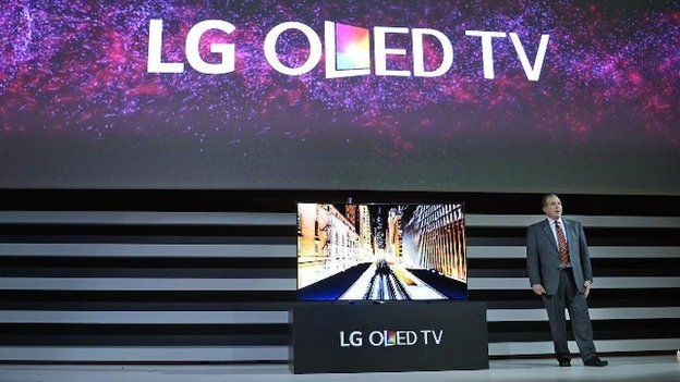 LG TV on CES stage