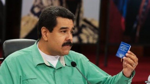Nicolas Maduro during a meeting with Governors and Ministers in Caracas on 4 January 2014