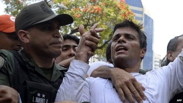 Leopoldo Lopez (right) during a demonstration in Caracas on 18 February, 2014.