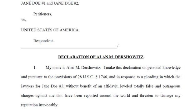 Screen grab of court documents filed by Mr Dershowitz