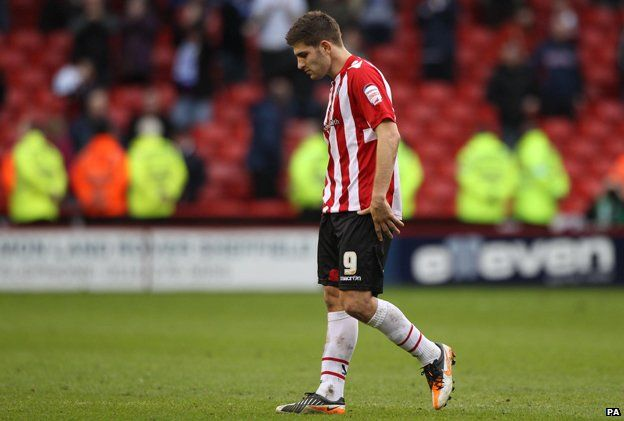 Ched Evans during the Sheffield Utd/Tranmere Rovers game, March 2012