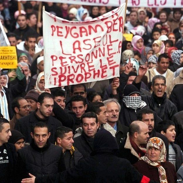 Muslims demonstrate in Strasbourg, eastern France, over satirical images of the Prophet Muhammad (11 February 2006 )