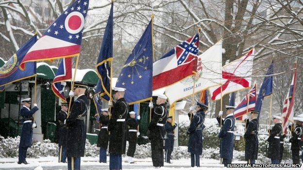 A US honour guard at the White House