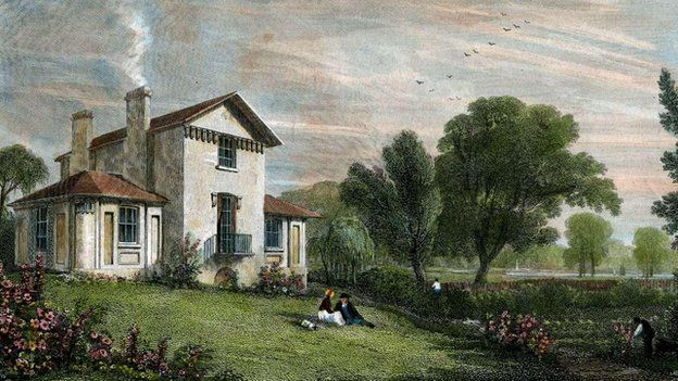 Twickenham Villa of JMW Turner RA engraved by WB Cooke c1814, with later colouring, from an original watercolour by William Havell