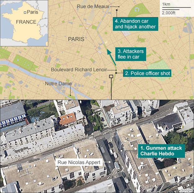 Map of gun attack in Paris