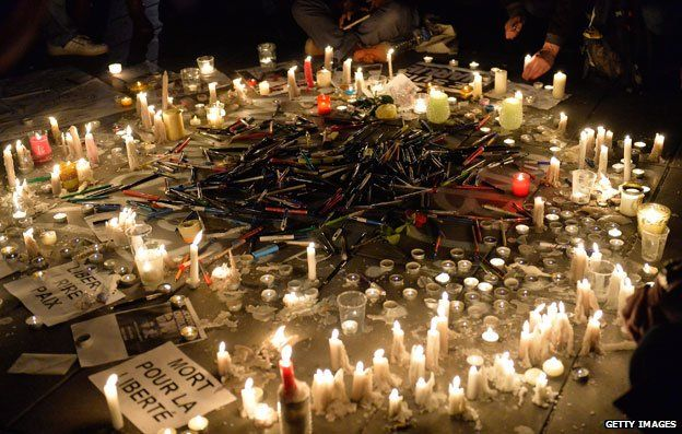 Tributes to victims killed during Charlie Hebdo attack