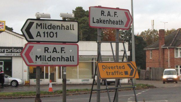 A11 road signs at Mildenhall