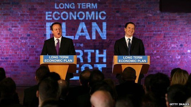 Prime Minister David Cameron and Chancellor George Osborne deliver a speech to business leaders on their long term economic plan, in Manchester.