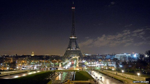 As a tribute for the victims of yesterday's terrorist attack the lights of the Eiffel Tower were turned off for five minutes at 20:00 on 8 January 2015 in Paris, France.