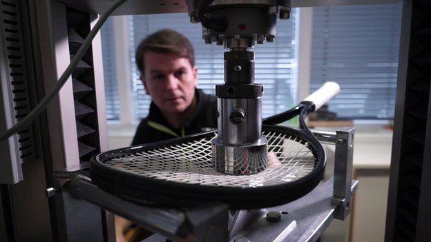 Racquet testing machine at Head factory