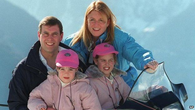 The Duke of York and his ex-wife Sarah Ferguson on holiday in Verbier, Switzerland with their daughters Princesses Beatrice and Eugenie in February 1998