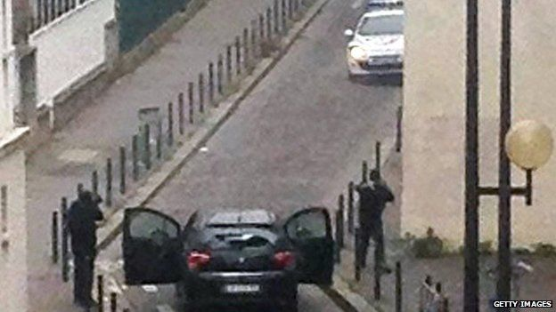 Picture from scene of Charlie Hebdo attack
