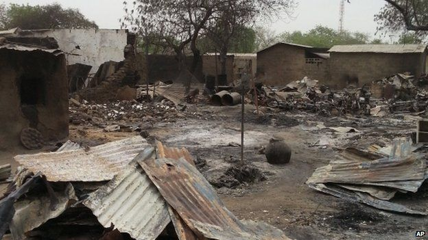 The ruins of burnt out houses stand in Baga town in Nigeria (April 2013)